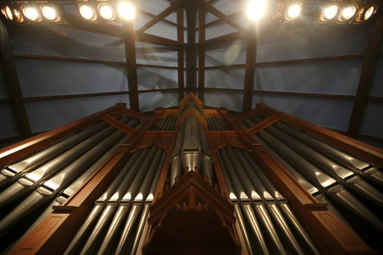 The lead pipes of the church's organ reach towards the ceiling of St. John's Episcopal Church downtown Tallahassee.