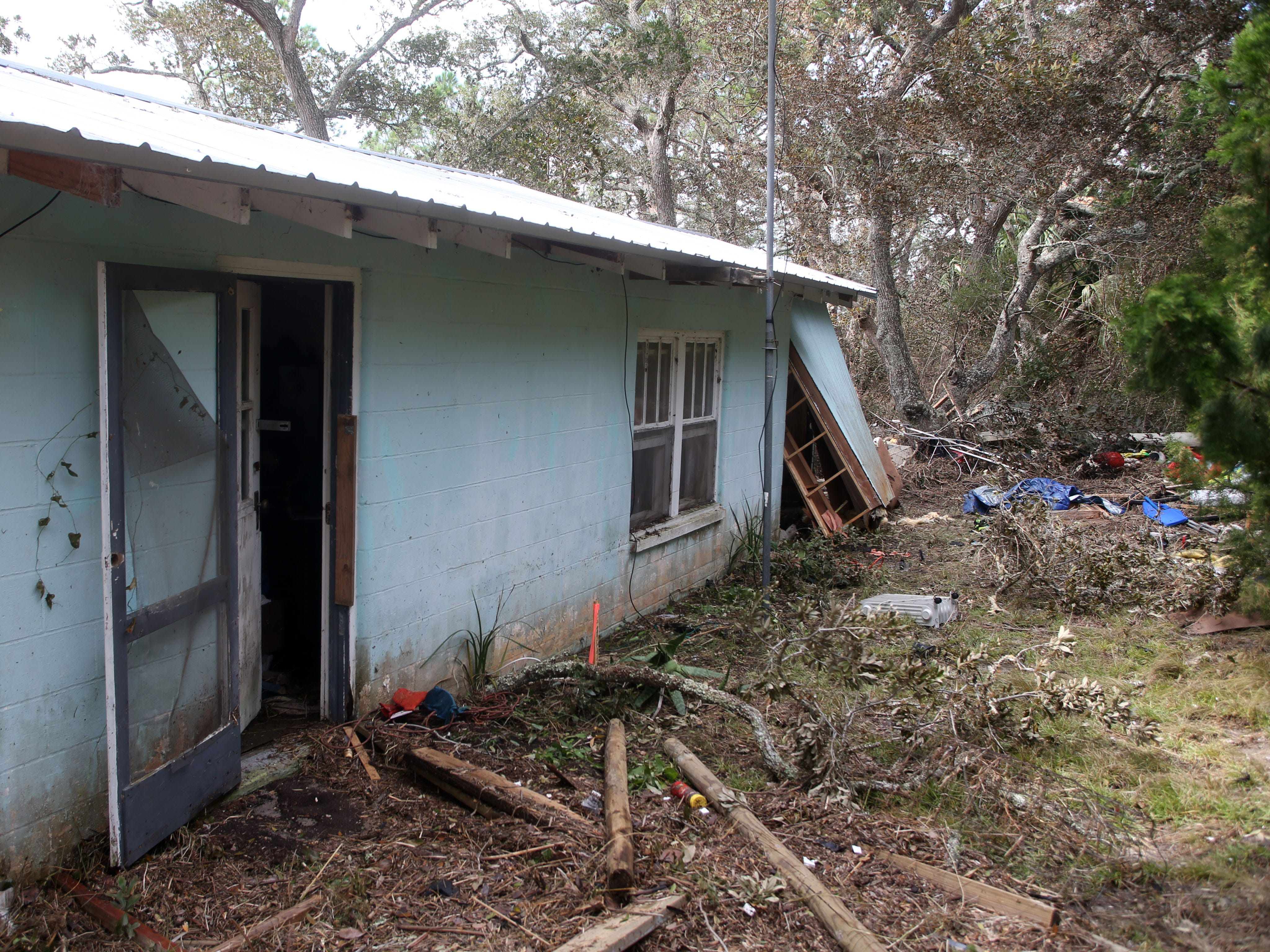 A home in Lanark Fla. has multiple walls blown out after Hurricane Michael on Monday, Oct. 15, 2018.