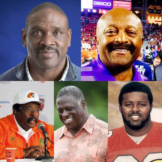 Five Rattlers are among the finalist for enshrinement in the Black College Football Hall of Fame. Top: Nate Newton, Greg Coleman, coach Joe Taylor, Henry Lawrence and Tyrone McGriff.