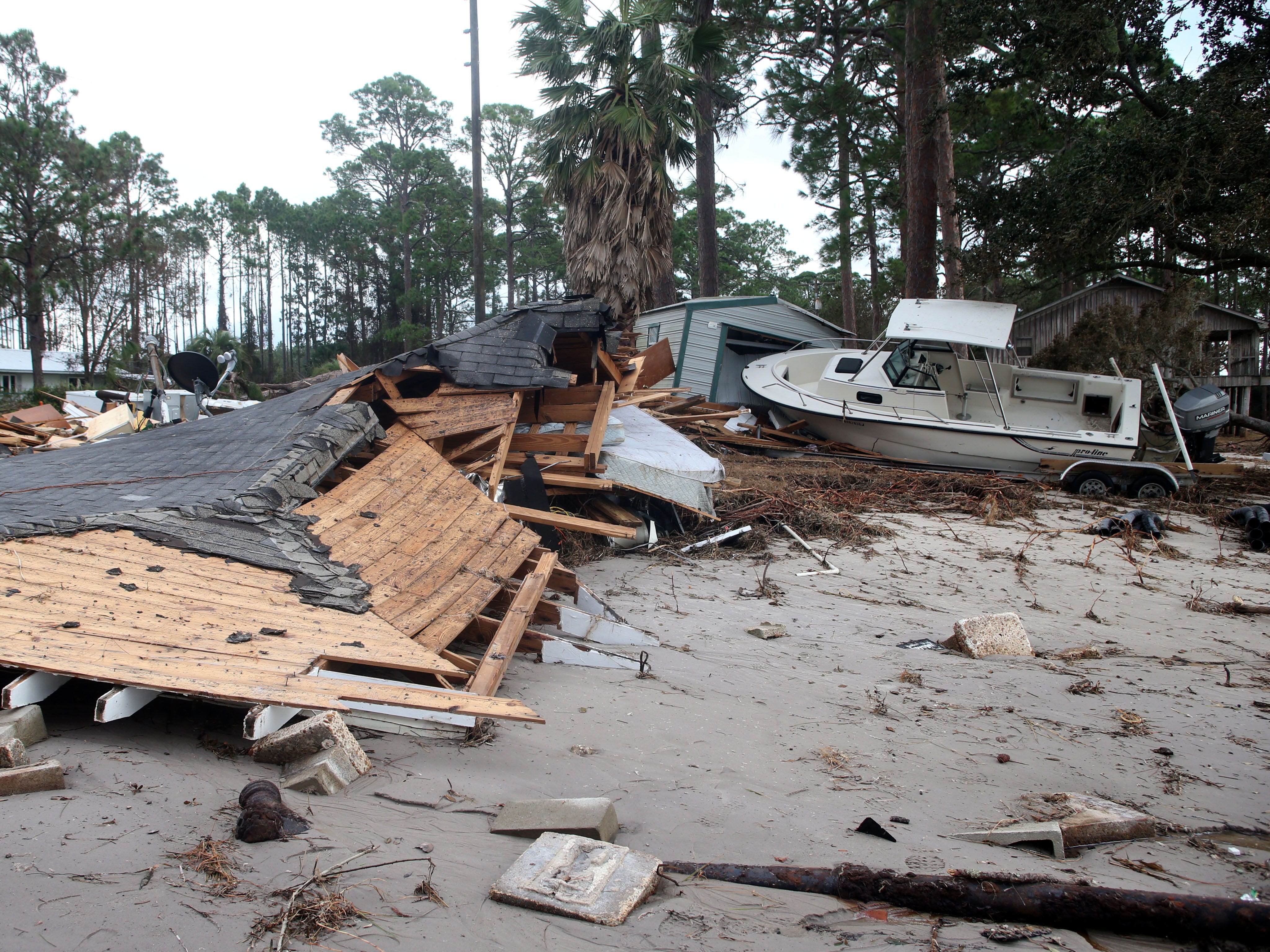 In Lanark, Fla. what were once homes,  are now piles of rubble after Hurricane Michael on Monday, Oct. 15, 2018.