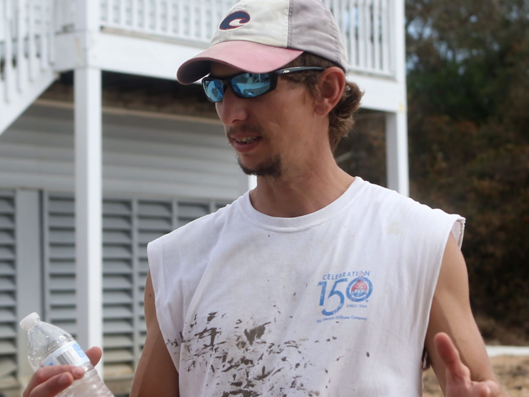 Michael Fordham speaks about his experience in Carrabelle Beach after Hurricane Michael on Monday, Oct. 15, 2018.
