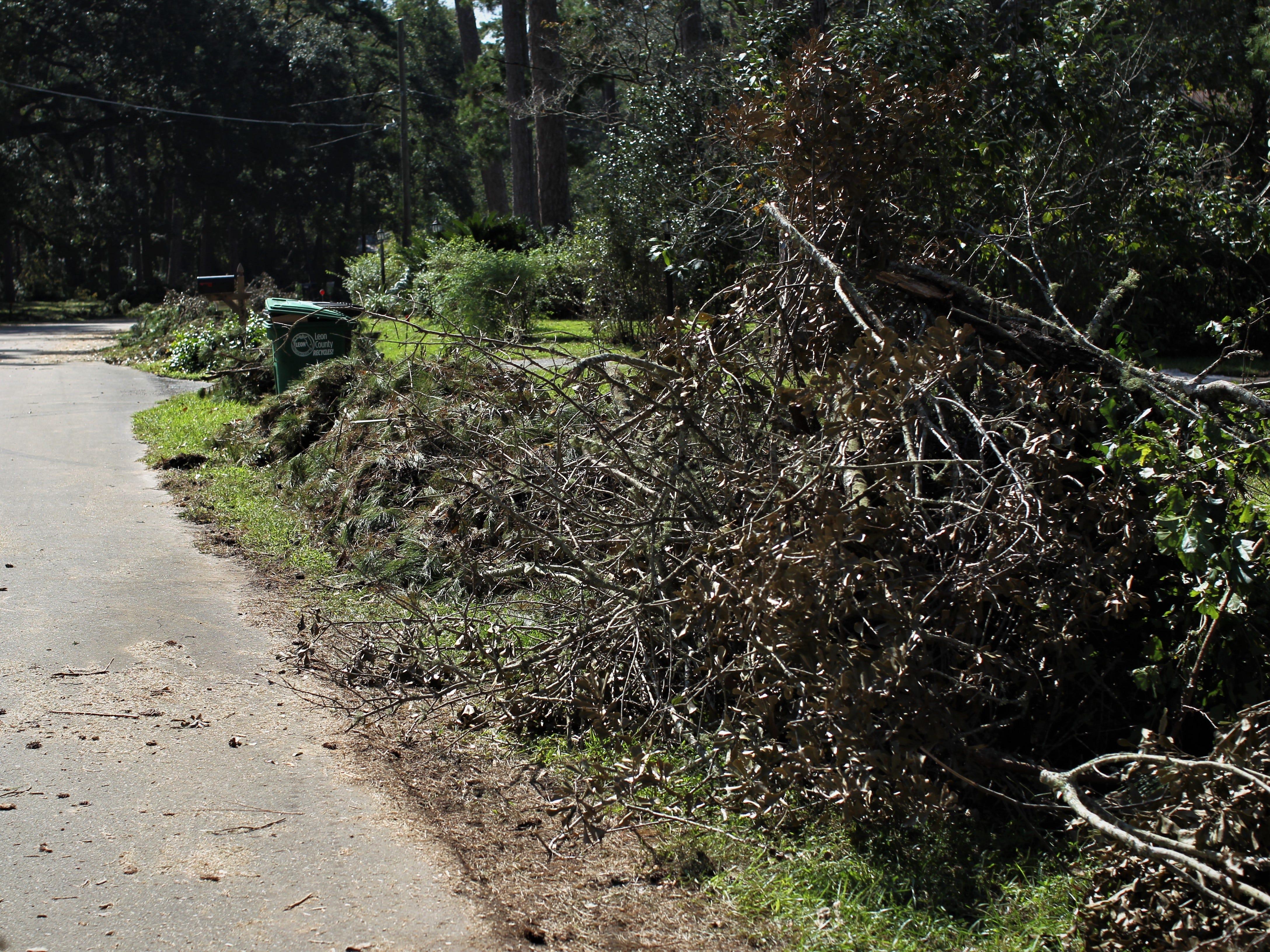 Damage in Tallahassee along North Shore Circle following Hurricane Michael.