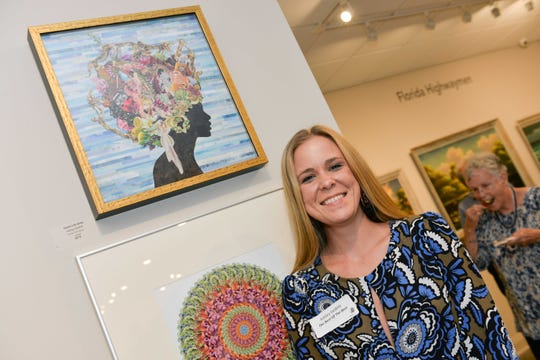 "Ashley DeWitt and her art work ""Sweet Life Betty,"" which is part of the ""Best of the Best"" juried art exhibition on display at the A.E. Backus Museum & Gallery in Fort Pierce through Nov. 16."