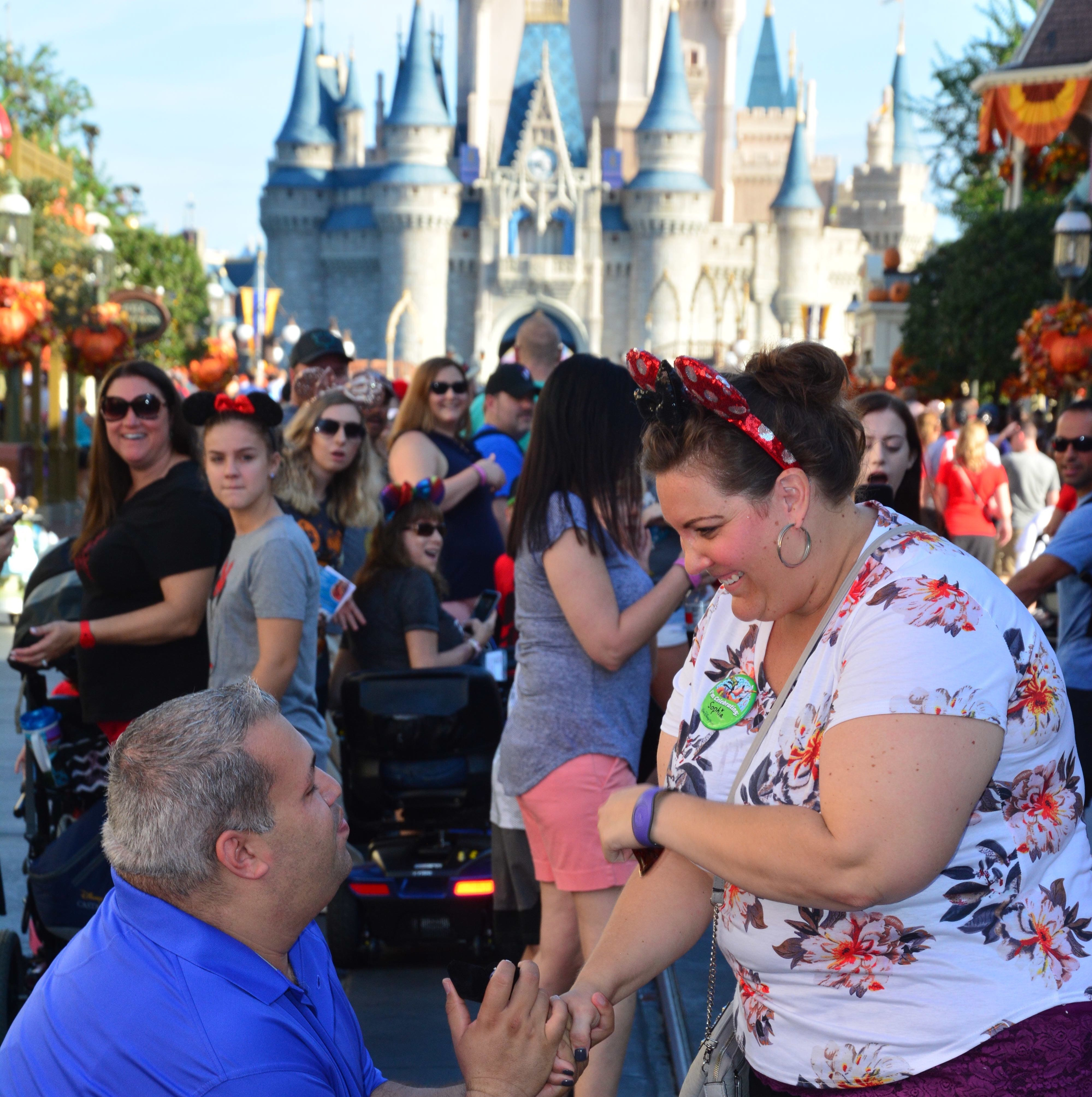 Congrats, best wishes to Port St. Lucie's Jason Romano and Natasha Mardis, after he proposes at Cinderella's Castle in Walt Disney World