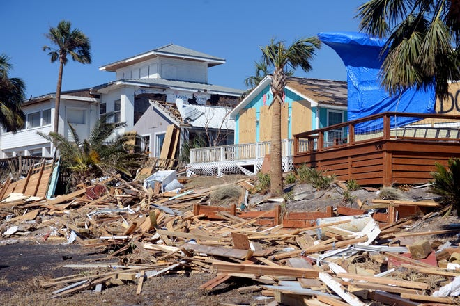 The Beacon Hill subdivision of Port St. Joe, shown here on Oct. 13, 2018, suffered some of the the most catastrophic damage from Hurricane Michael as the storm blew into the Florida Panhandle on Wednesday. Every house suffered some damage but some homes were removed from their foundations.