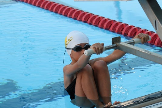 Young Swimmer First Meet Ready To Swim Backstroke