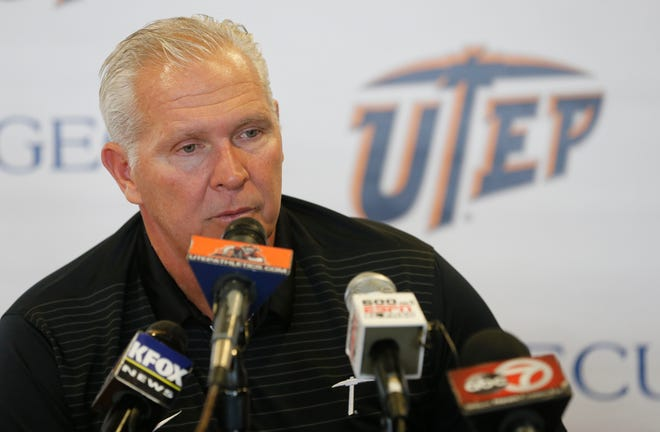 UTEP head coach Dana Dimel addresses the media at his weekly press conference after the teams bye week. The Miners will gear up for their upcoming game against La Tech, in Ruston, La this Saturday night. The Miners coming off their best performance of the season look to improve their last outing and look are looking forward to getting back on the playing filed once again