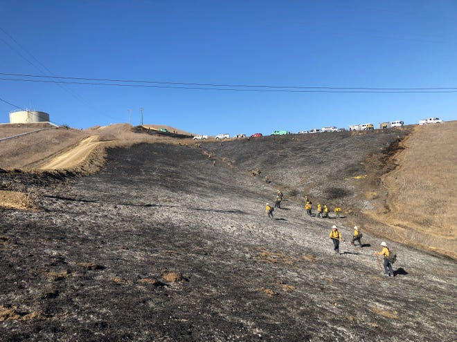 Santa Barbara County firefighters tackled several small brush fires near Gaviota, along Highway 101, Monday afternoon.