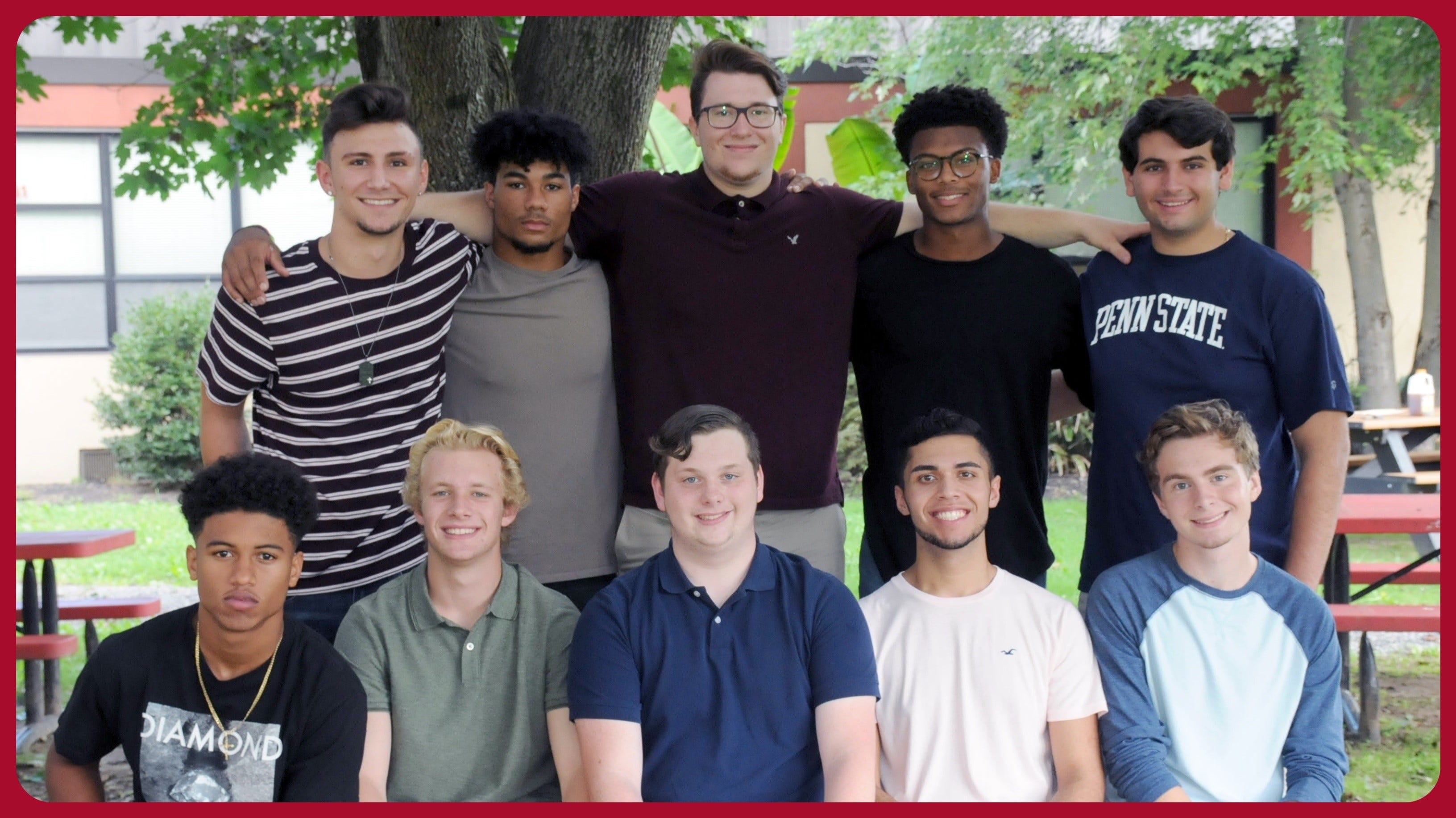 (Seated, from left) Kishawn Fentress, Frank Knapp, Aaron DiClaudio, Hector Agosto, Luke Harker, and (standing, from left) J. Scott Gebhard, Aidan Borquet, Colin Poisker, Chris Henry and Ethan Rappleye are Delsea Regional High School's Homecoming King candidates.