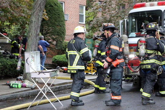 Eastchester fire chief Brian Tween works the command center of an apartment fire on the 5th floor of 235 Garth Road in Eastchester Oct. 15, 2018. Eastchester fire department had help from Hartsdale, Greenville, New Rochelle, Yonkers and Mount Vernon fire departments.