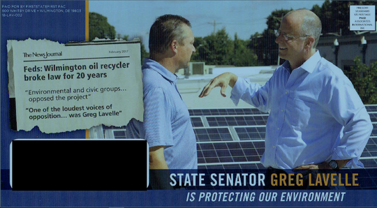 The Delaware Democratic Party claims this ad, paid for by a political action committee, violates state campaign finance law.