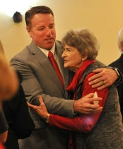 District 30 Texas House Representative Pat Fallon posed for pictures and received hugs after speaking at a luncheon held by the Wichita County Republican Women Monday afternoon.