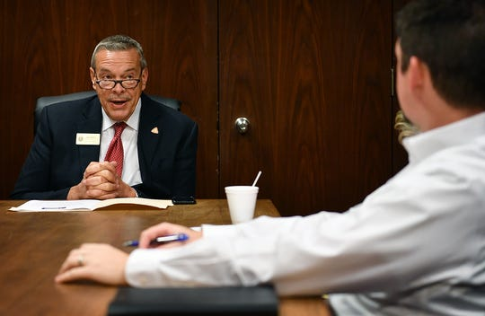 Wichita County Precinct 4 Commissioner Jeff Watts meets with the Editorial Board of the Times Record News Monday.