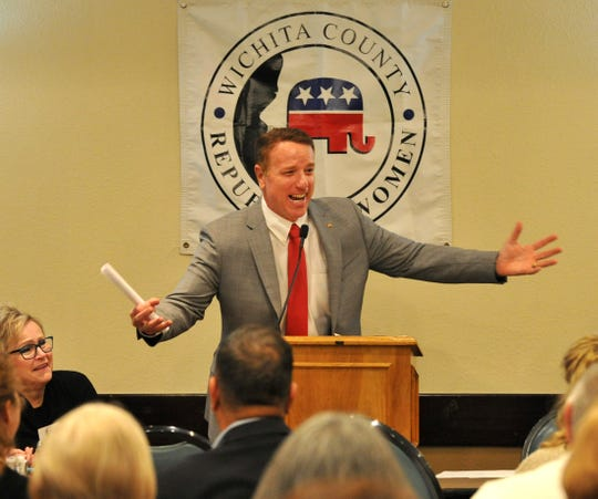 District 30 state Rep. Pat Fallon speaks to the Wichita County Republican Women on Monday morning during a luncheon at Luby's Cafeteria.