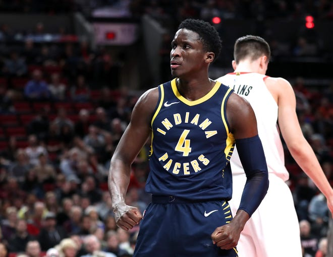 Indiana Pacers guard Victor Oladipo reacts to the crowd after scoring on Portland Trail Blazers in the first half at Moda Center.