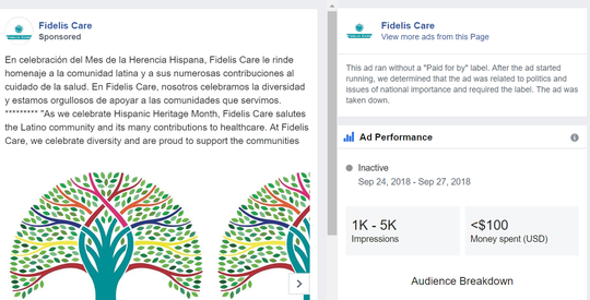 Facebook says it mislabeled this advertisement from a health insurance company as political.