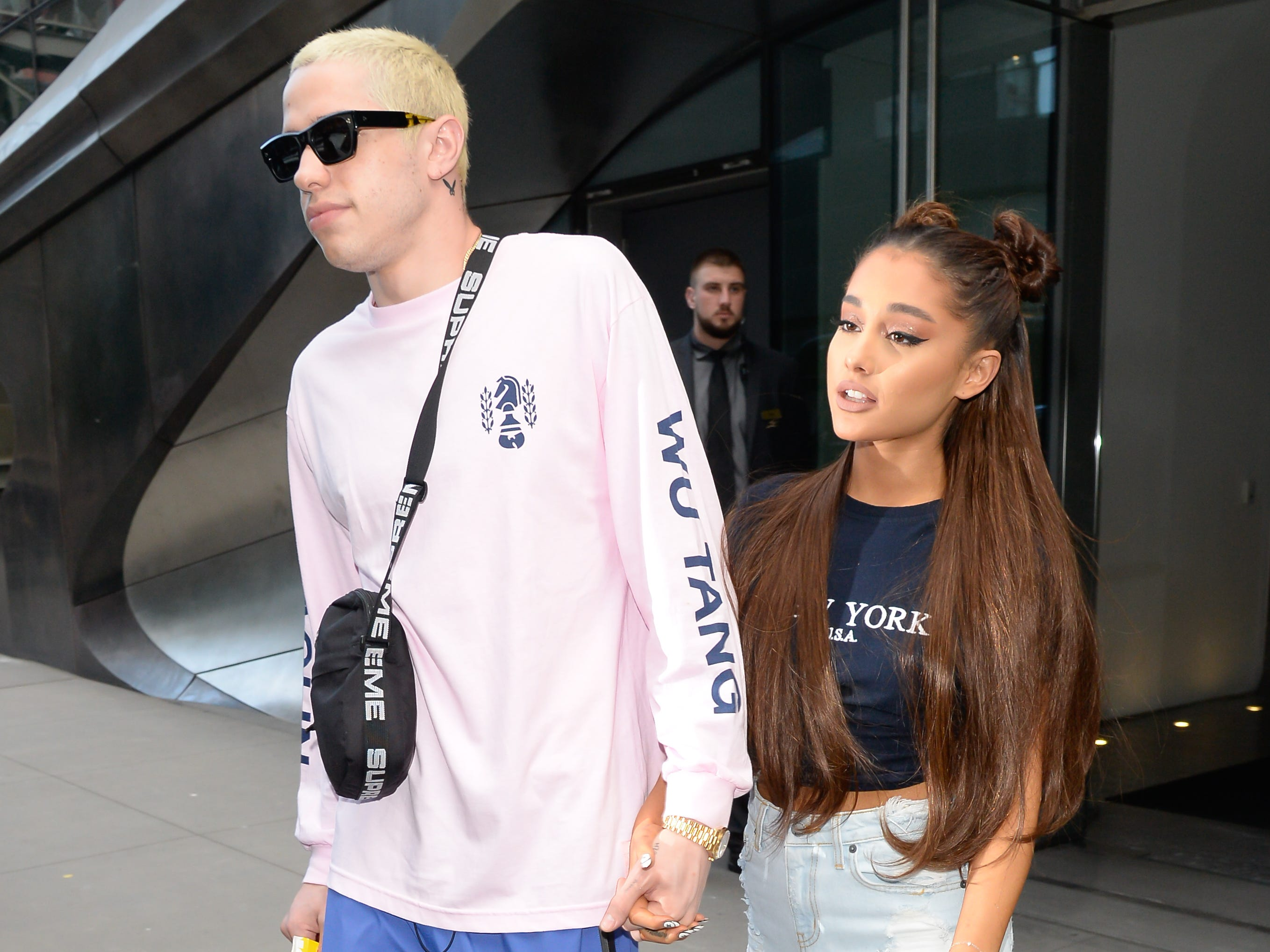 Singer Ariana Grande and Pete Davidson are seen walking in Midtown on July 11, 2018 in New York City.