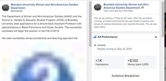 Facebook says it mislabeled this ad for a job opening at Brandeis University as political.
