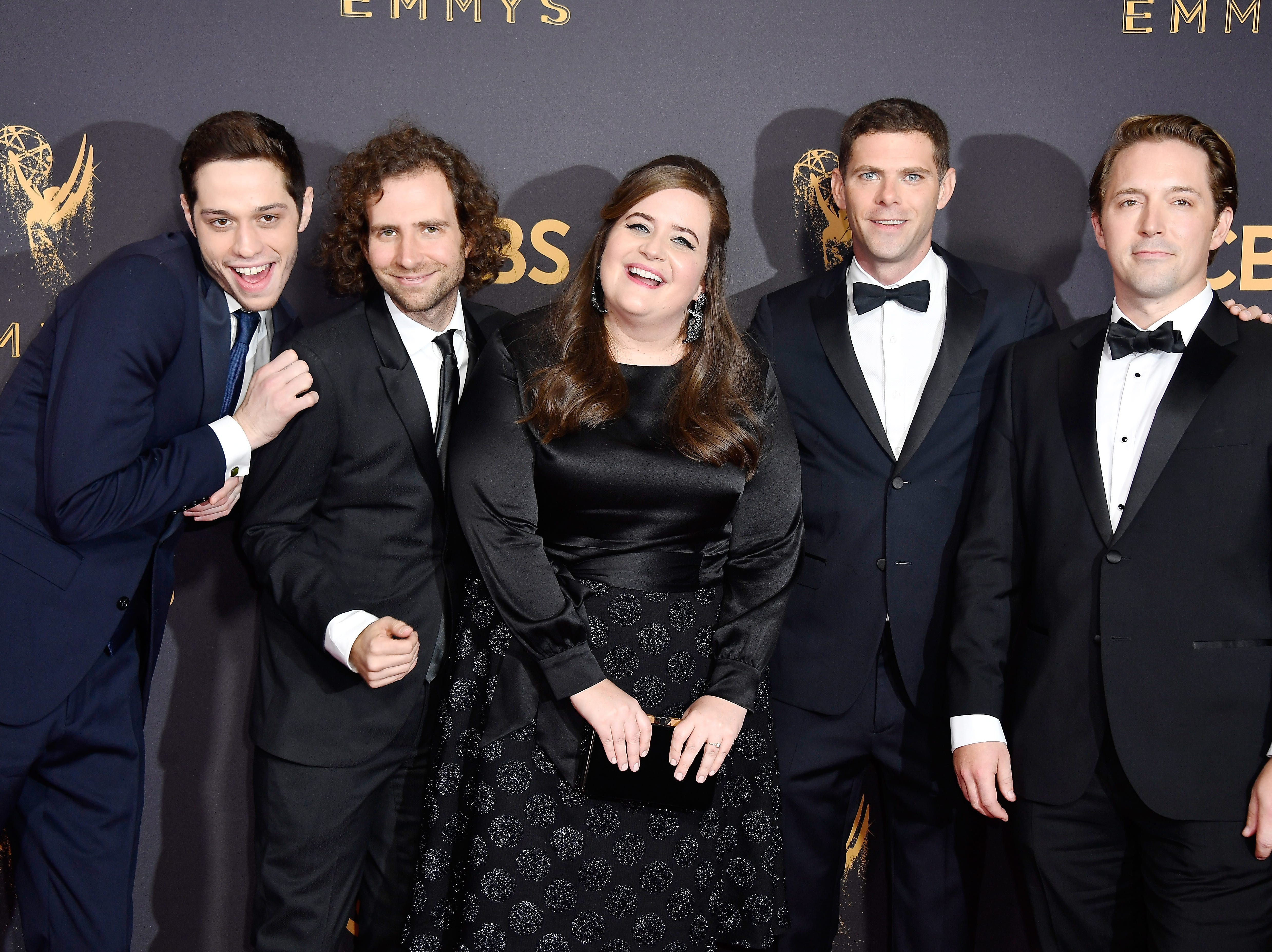 LOS ANGELES, CA - SEPTEMBER 17: (L-R) Actors Pete Davidson, Kyle Mooney, Aidy Bryant, Mikey Day and Beck Bennett attend the 69th Annual Primetime Emmy Awards at Microsoft Theater on September 17, 2017 in Los Angeles, California.  (Photo by Frazer Harrison/Getty Images) ORG XMIT: 775039466 ORIG FILE ID: 848569820