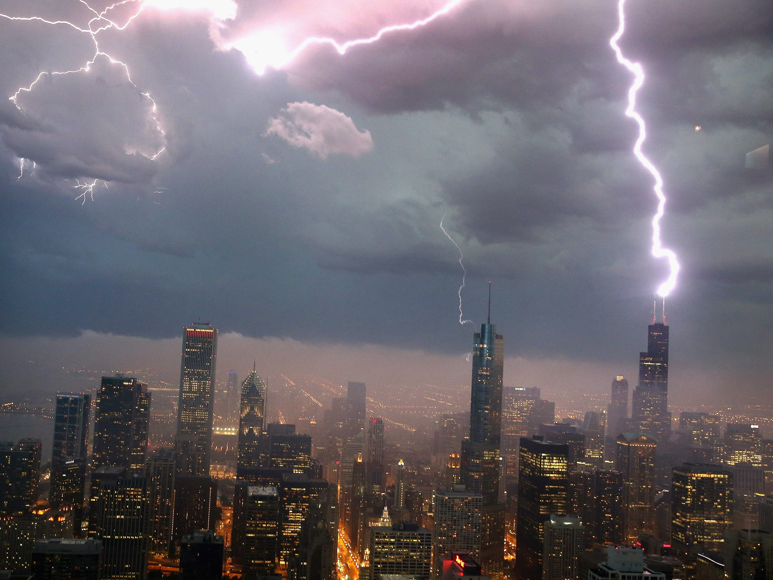 FILE - MARCH 16, 2015: It was reported that real estate investment company Blackstone Group is buying Chicago's Willis Tower March 16, 2015. CHICAGO, IL - JUNE 12:  Lightning strikes the Willis Tower (formerly Sears Tower) in downtown on June 12, 2013 in Chicago, Illinois. A massive storm system with heavy rain, high winds, hail and possible tornadoes is expected to move into Illinois and much of the central part of the Midwest today.  (Photo by Scott Olson/Getty Images) ORG XMIT: 531592471 ORIG FILE ID: 170398573