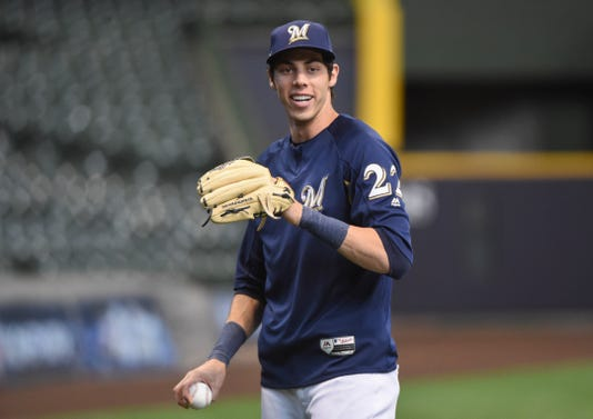 61fd06d85 MLB playoffs: Christian Yelich home at Dodger Stadium with Brewers