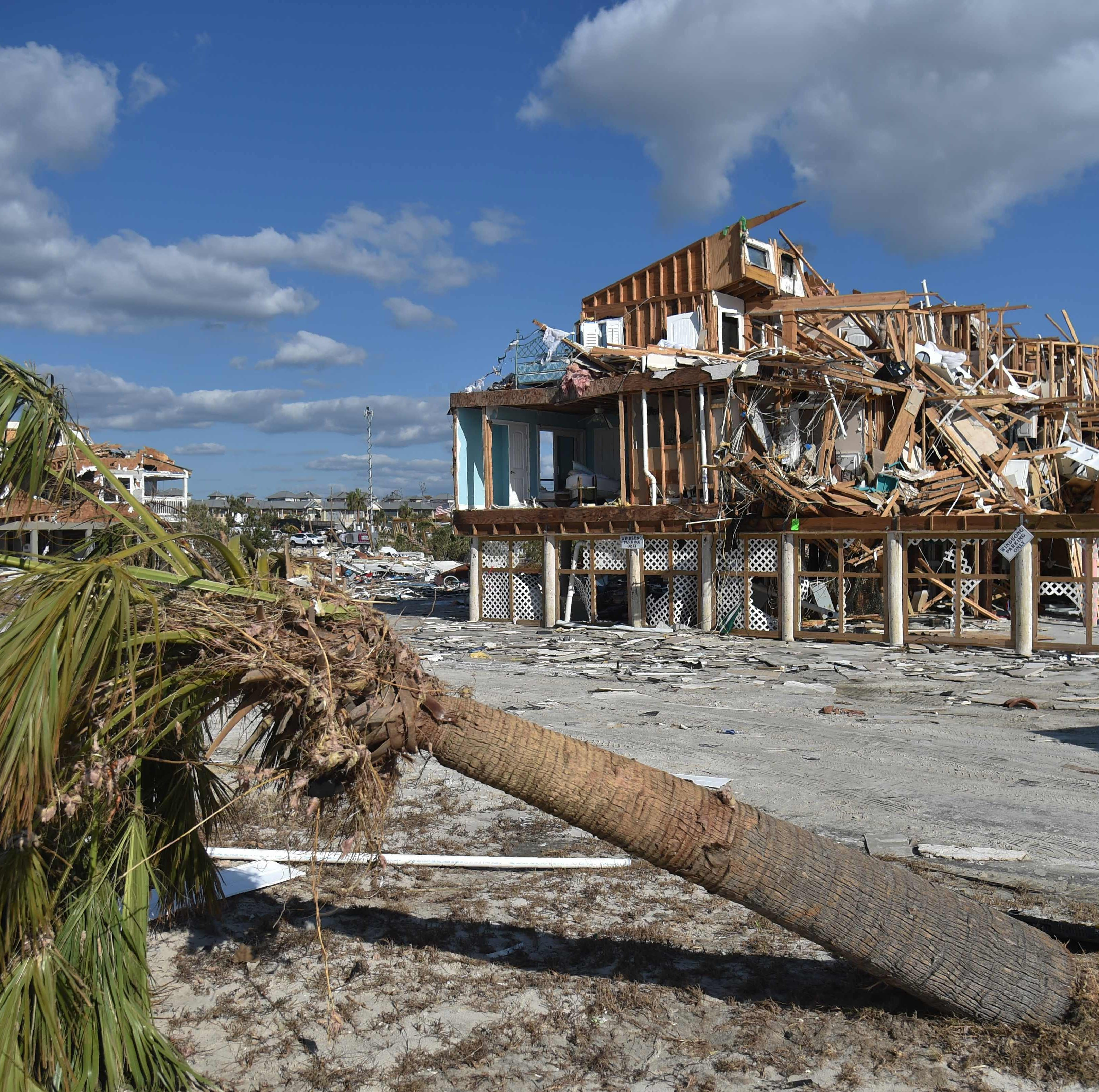View of the damaged caused by Hurricane Michael in Mexico Beach, Fla. on Oct. 13, 2018, three days after Hurricane Michael hit the area. Four days after Hurricane Michael's devastating strike, search teams in Florida pressed their hunt for victims into hard-to-reach areas Saturday, as the death toll rose to 17 and officials scrambled to deliver aid to those who lost everything.The mammoth storm, which made landfall as a Category 4 storm on Wednesday, claimed lives in four states, but Florida suffered the worst damage by far.