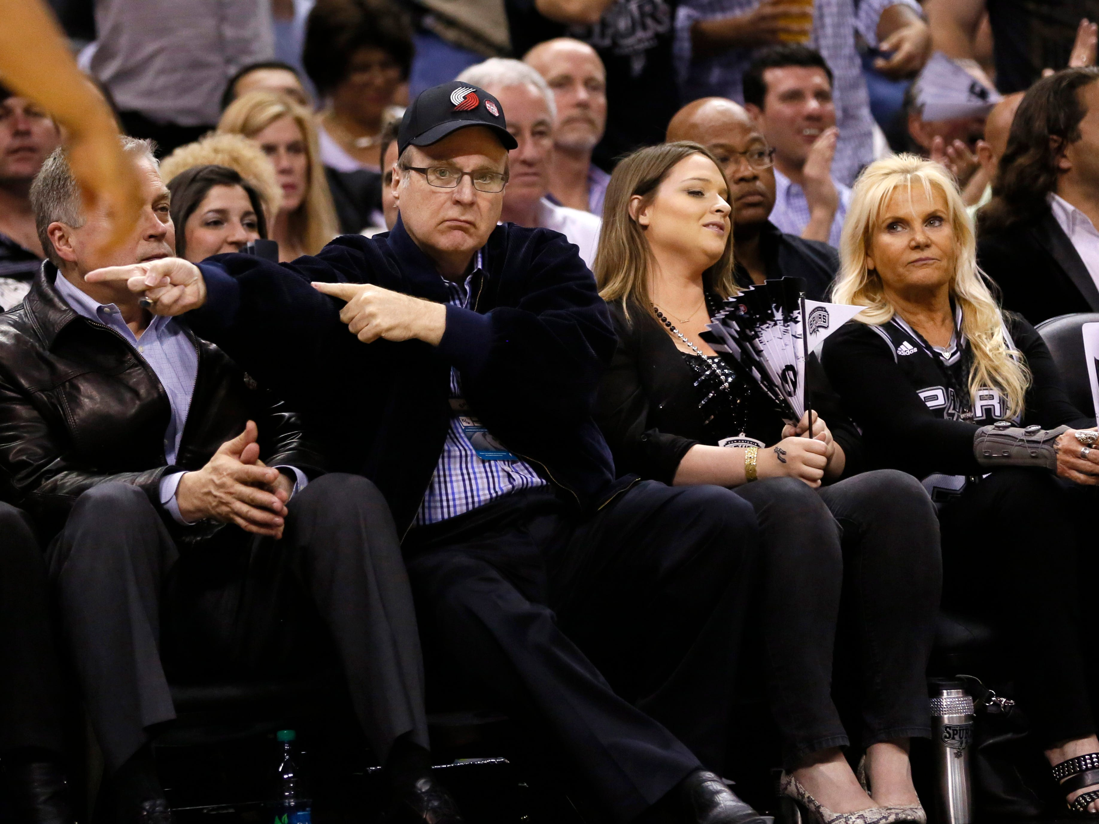 May 6, 2014; San Antonio, TX, USA; Portland Trail Blazers owner Paul Allen reacts in a game against the San Antonio Spurs in game one of the second round of the 2014 NBA Playoffs in San Antonio, May 6, 2014.