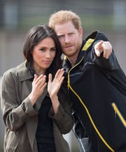 Prince Harry and Meghan Markle attend the UK Team Trials for the Invictus Games Sydney 2018 on April 6, 2018, in Bath, England.