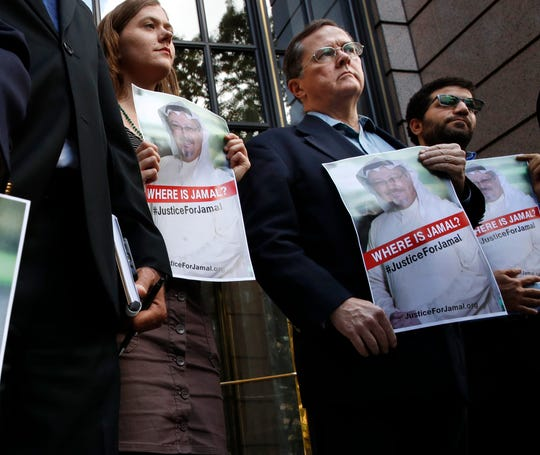 Demonstration for missing columnist Jamal Khashoggi in front of The Washington Post on Oct. 10, 2018.