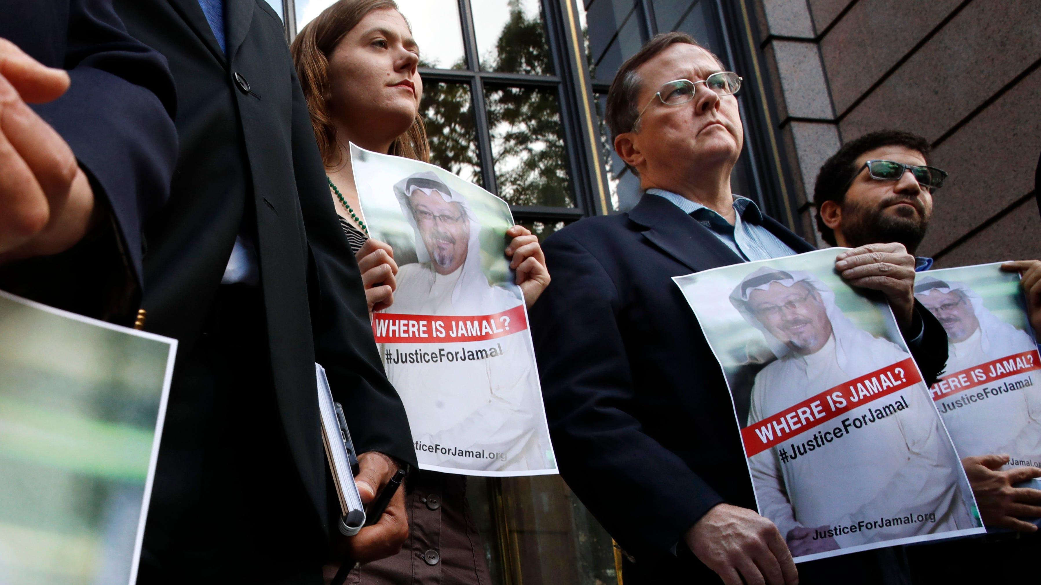 Demonstration for missing columnist Jamal Khashoggi in front of The Washington Post on Oct. 10, 2018.