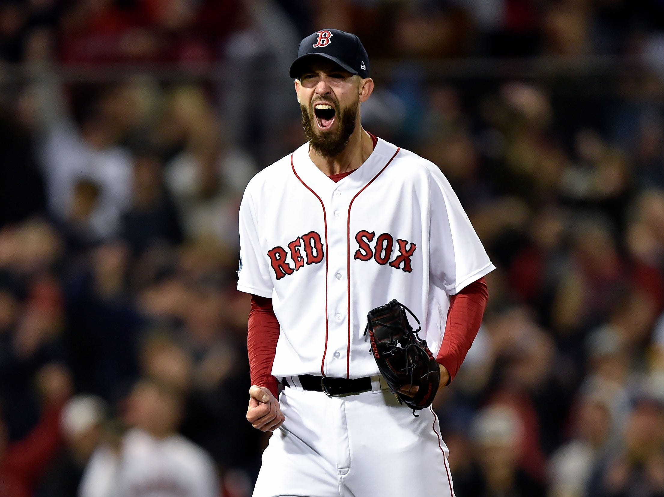 ALCS Game 2: Rick Porcello celebrates after striking out Carlos Correa in the eighth inning.