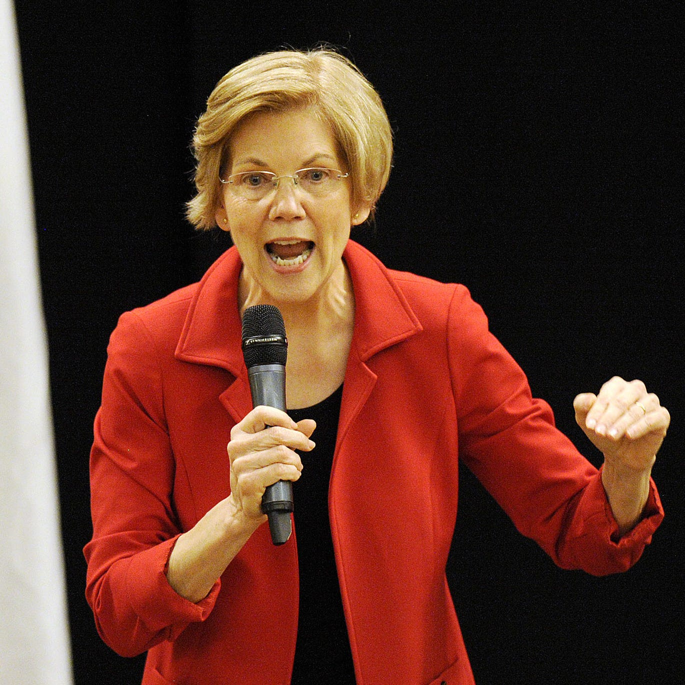 Sen. Elizabeth Warren, D-Mass., addresses a town hall meeting in Roxbury, Massachusetts, on Oct. 13, 2018.