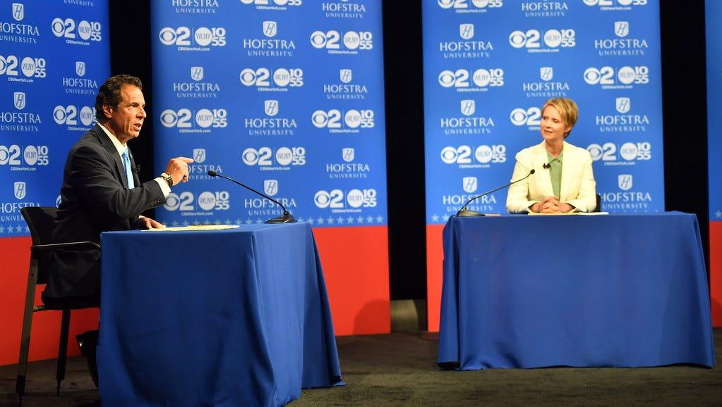 New York Gov. Andrew M. Cuomo and challenger Cynthia Nixon at gubernatorial debate, Hempstead, N.Y., Aug. 29, 2018