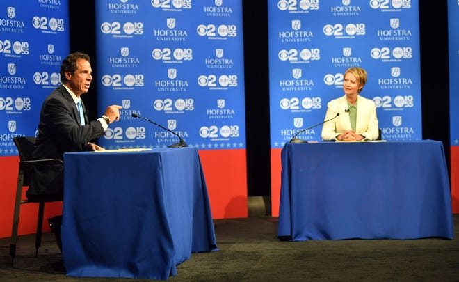 New York Gov. Andrew M. Cuomo and challenger Cynthia Nixon at gubernatorial debate, Hempstead, N.Y., Aug. 29, 2018