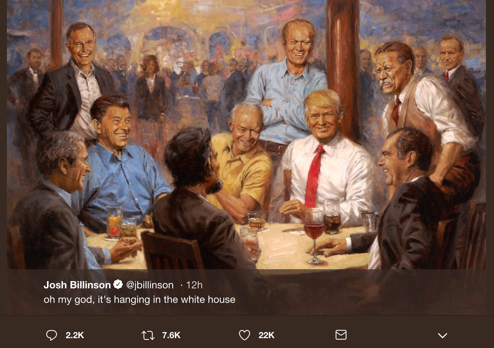 Painting of Trump with past Republican presidents hangs in White House, '60 Minutes' viewers saw