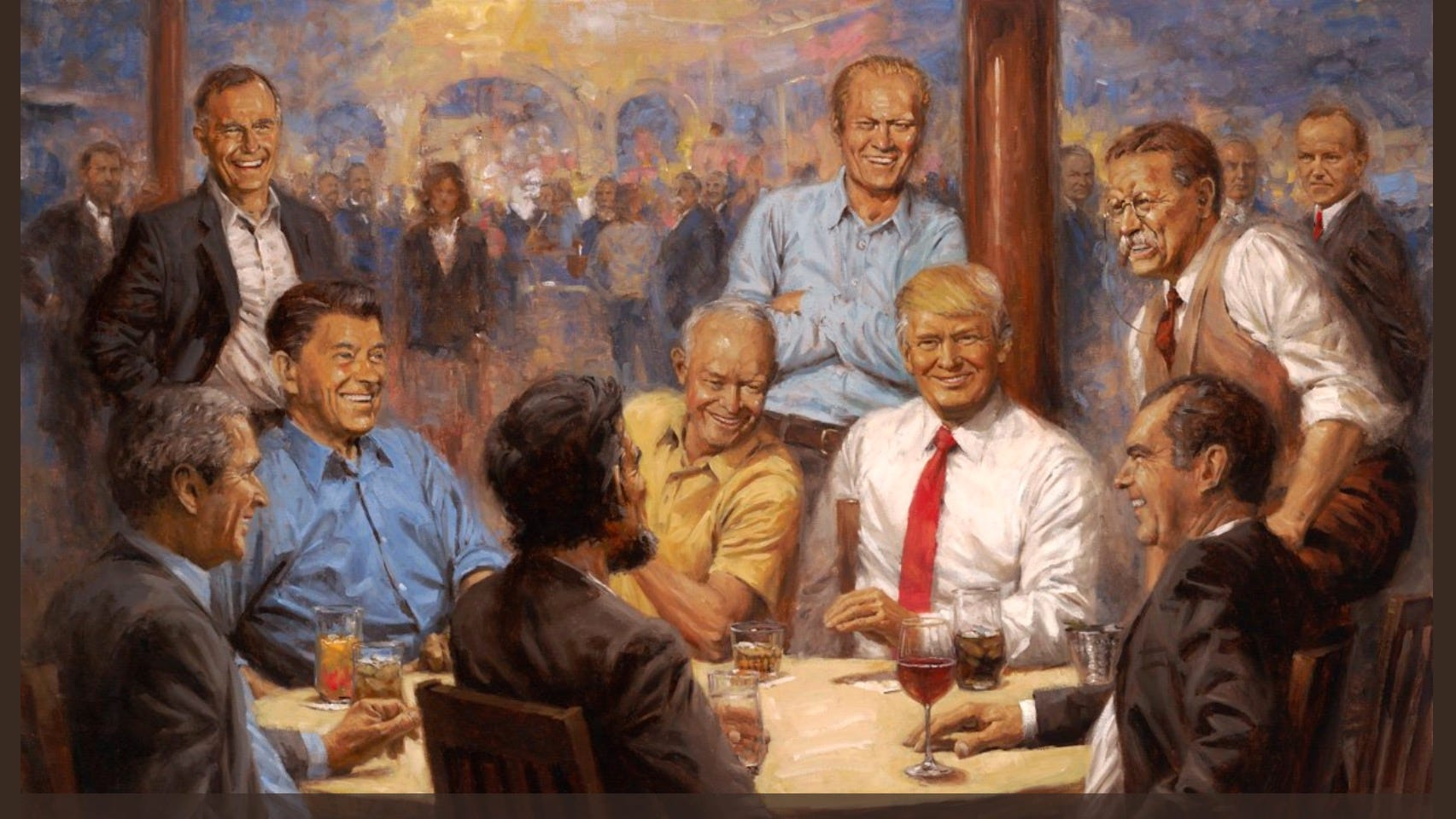 This painting by Andy Thomas of President Donald Trump drinking with past Republican presidents hangs in the White House.