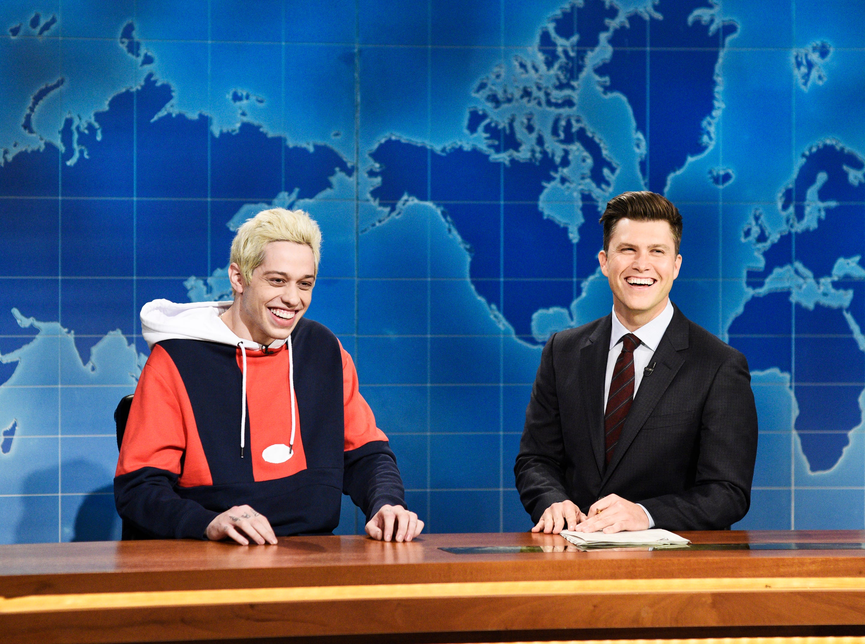 "SATURDAY NIGHT LIVE -- ""Adam Driver"" Episode 1747 -- Pictured: (l-r) Pete Davidson, Colin Jost during ""Weekend Update"" in Studio 8H on Saturday, September 29, 2018 -- (Photo by: Will Heath/NBC)"