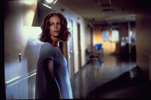 "Laurie Strode (Jamie Lee Curtis) can't even find safety at a hospital in 1981's ""Halloween II."""