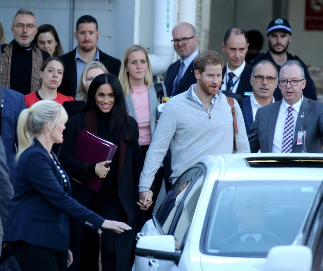 Prince Harry, Duke of Sussex and Meghan, Duchess of Sussex arrive into Sydney International Airport in Sydney, New South Wales. Prince Harry and Duchess Meghan are in Sydney ahead of the Invictus Games.