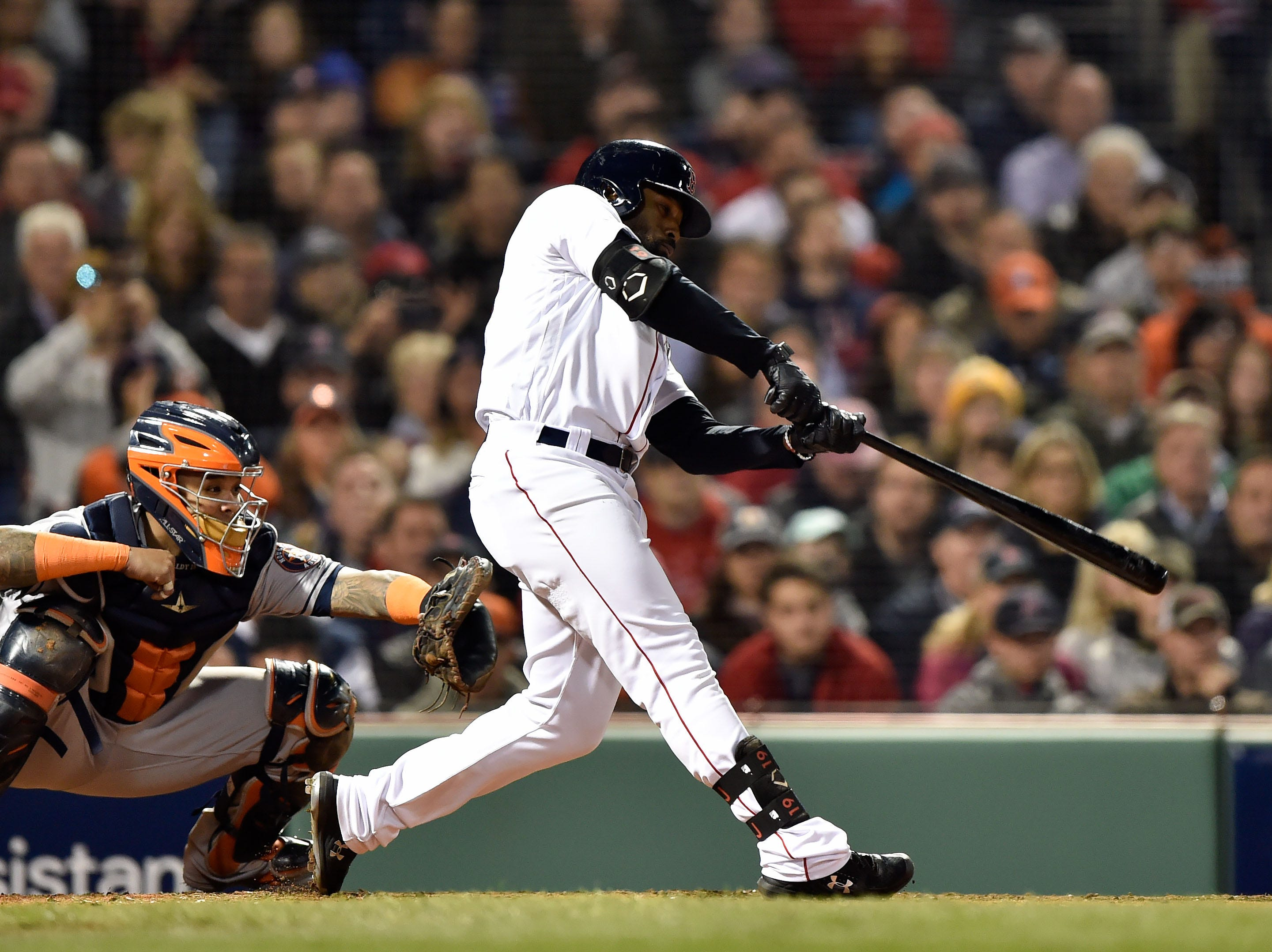 ALCS Game 2: Red Sox center fielder Jackie Bradley Jr. hits a three-run double in the third inning.