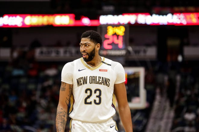 New Orleans Pelicans forward Anthony Davis against the Toronto Raptors during the first half at the Smoothie King Center.