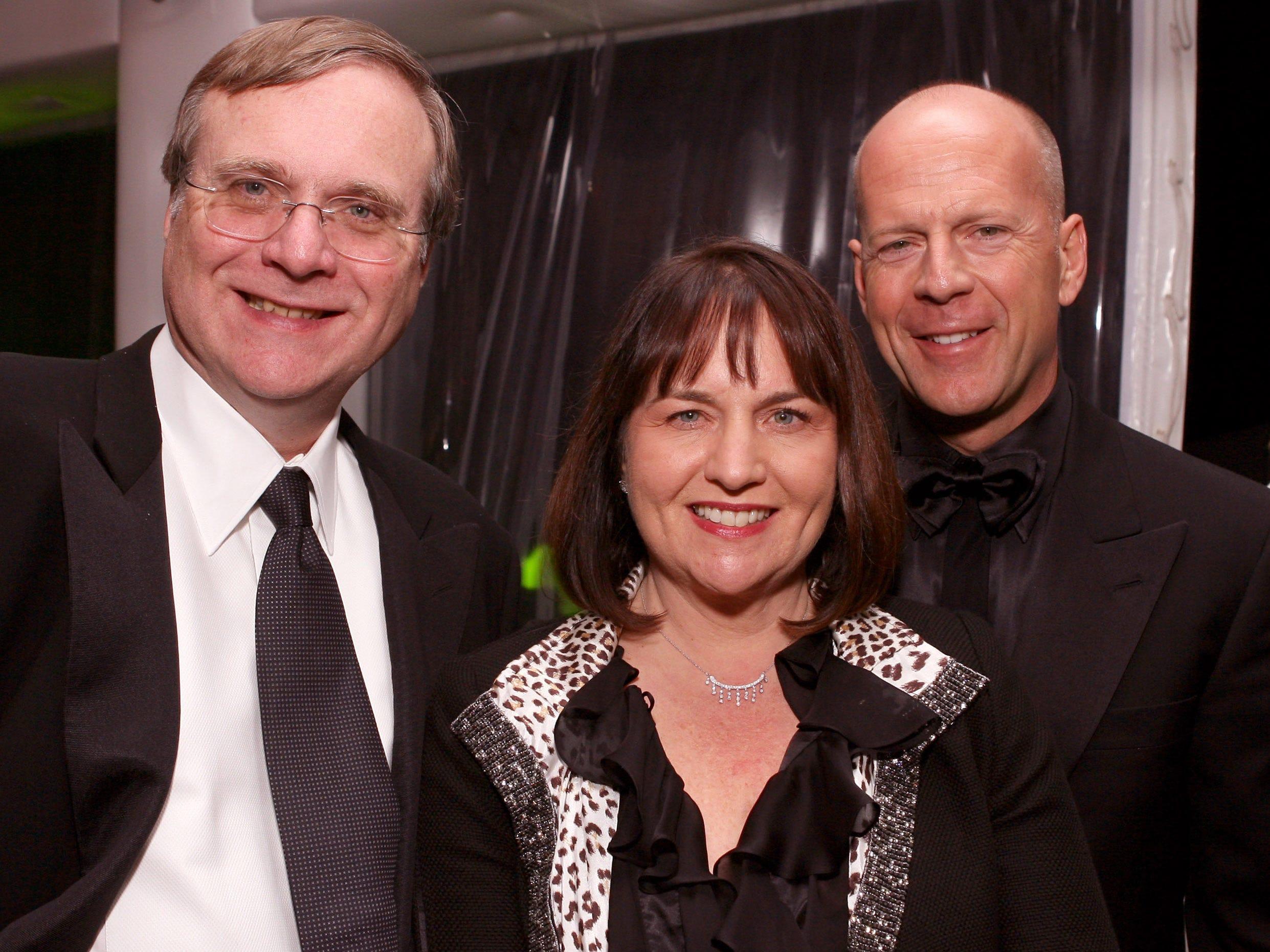 Paul Allen, left, Allen's sister, Jody Allen Patton and Bruce Willis attend the Cannes Film Festival in 2006.