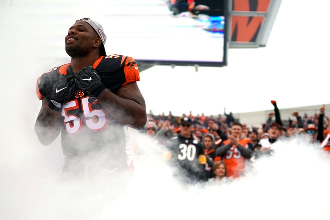 Cincinnati Bengals linebacker Vontaze Burfict (55) takes the field during player introductions before playing against the Pittsburgh Steelers at Paul Brown Stadium.