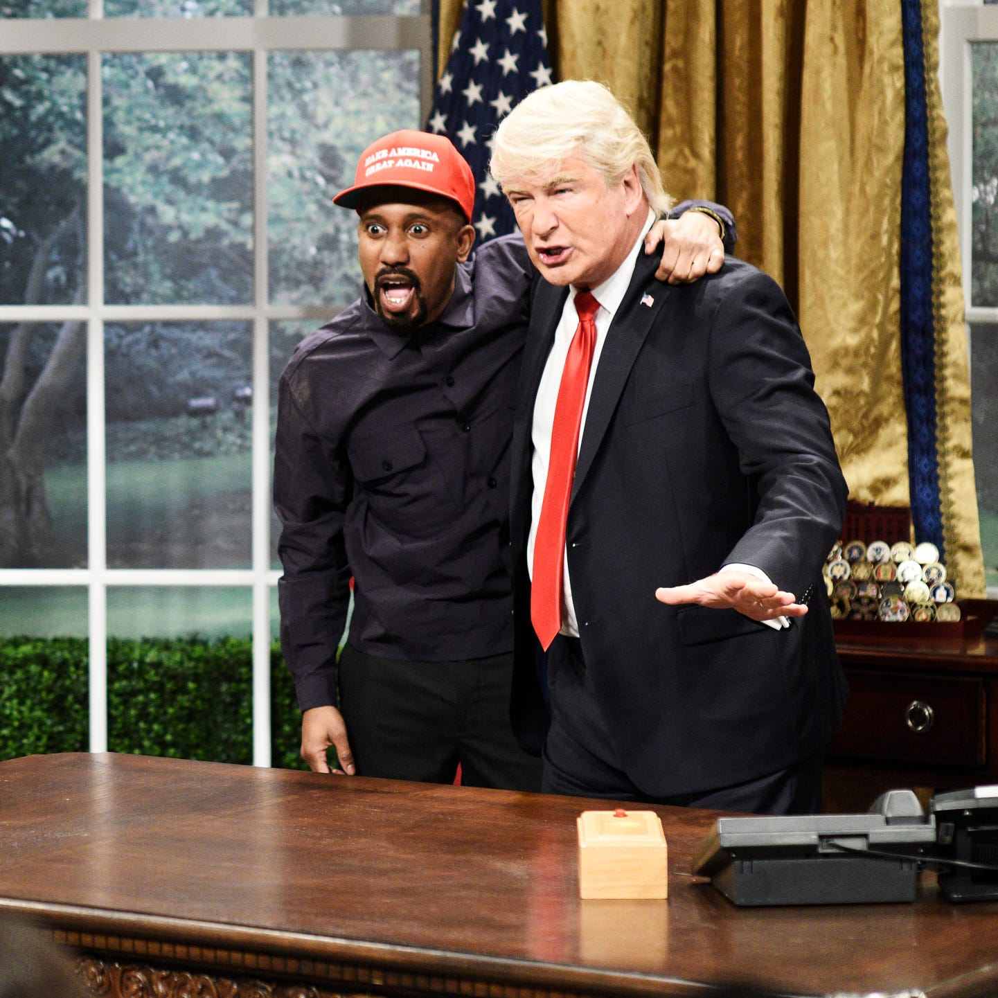 "There was little chance ""Saturday Night Live"" was going to ignore the Oct. 11 Oval Office meeting between rapper Kanye West and President Trump, which took place two days before the third episode of Season 44. As West (Chris Redd) bragged about having a big brain and the best words, Trump (Alec Baldwin) realized, ""Oh my God, he's  black me!""  Click forward for more memorable moments from the current season."