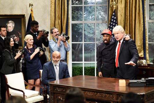 """There was little chance """"Saturday Night Live"""" was going to ignore the Oct. 11 Oval Office meeting between rapper Kanye West and President Trump, which took place two days before the third episode of Season 44. As West (Chris Redd) bragged about having a big brain and the best words, Trump (Alec Baldwin) realized, """"Oh my God, he's black me!"""""""