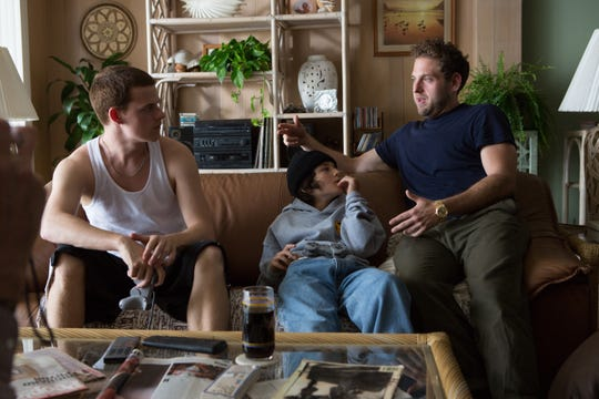 "Jonah Hill, right, behind the scenes on the set of ""Mid90s"" with Lucas Hedges and Sunny Suljic, who play brothers."