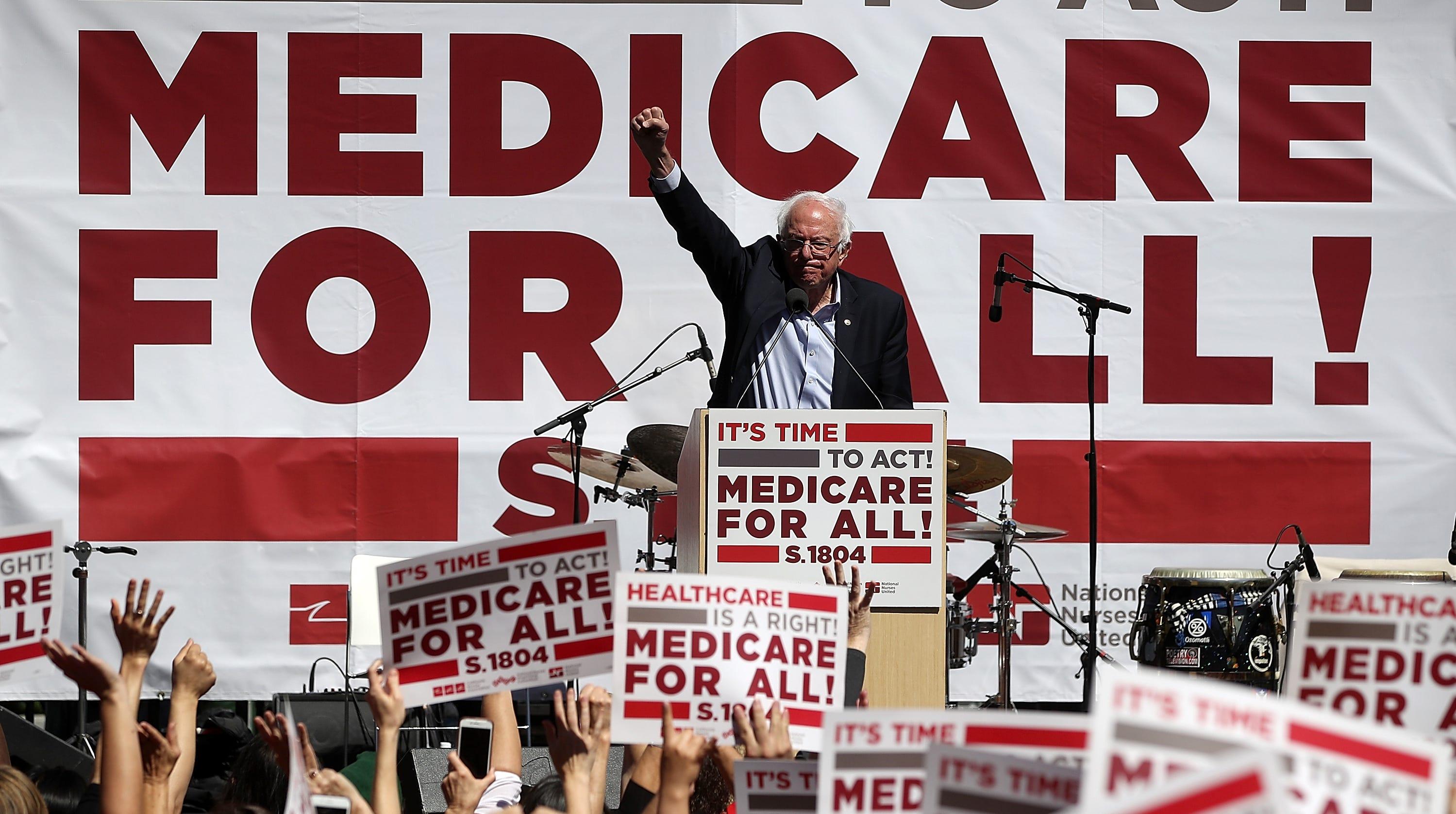 Sen. Bernie Sanders speaks at a rally on Sept. 22, 2017.
