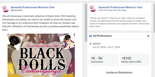 Facebook says it miscategorized this advertisement for a collection of black dolls as political.