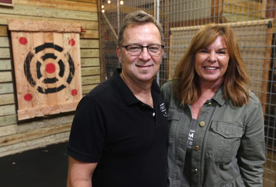 Kelly and  Stuart Josberger, owners of Stumpy's Hatchet House in Eatontown.