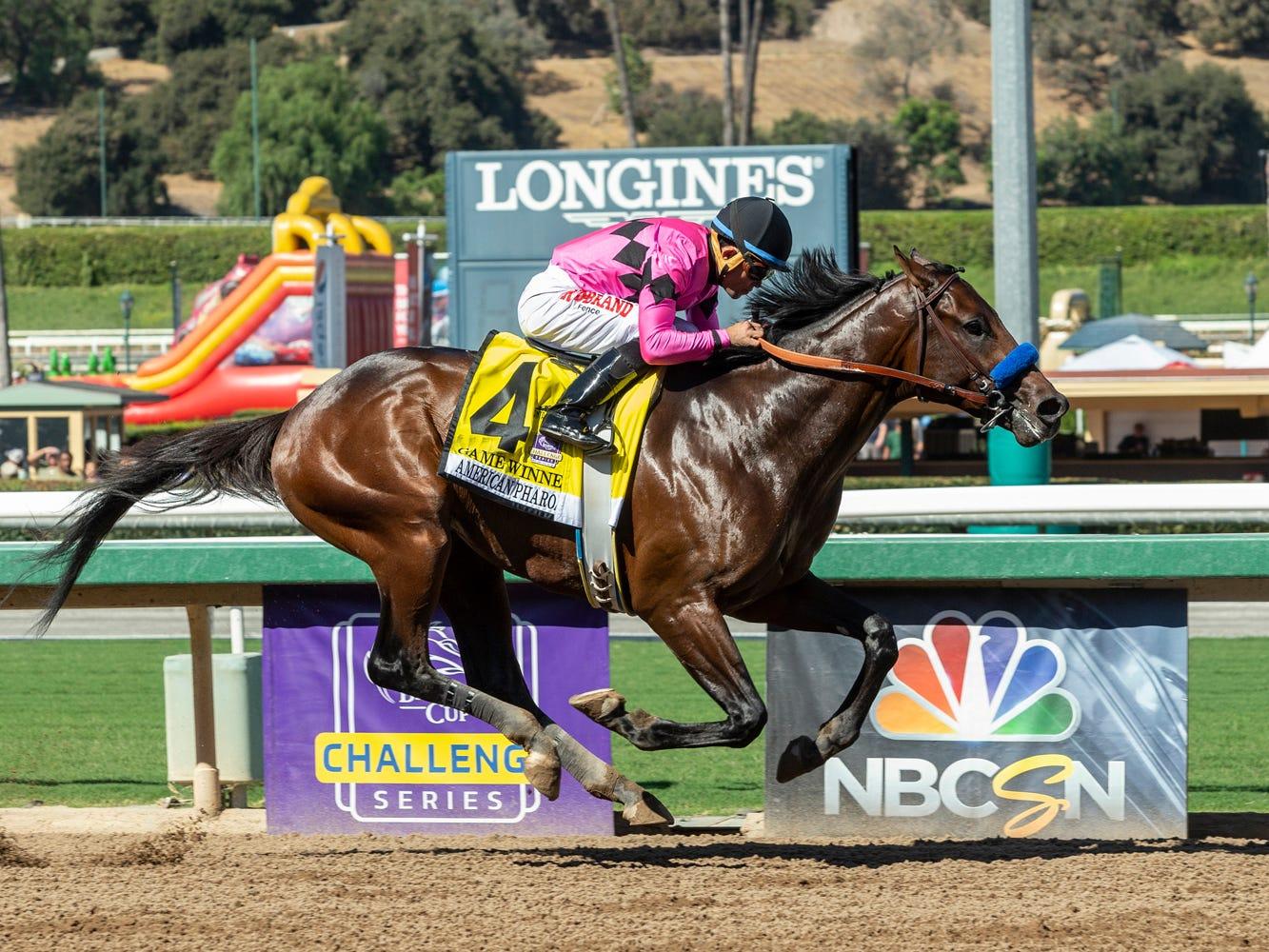 Game Winner and jockey Joel Rosario win the Grade I $300,000 American Pharoah Stakes horse race Saturday, Sept. 29, 2018, at Santa Anita in Arcadia, Calif.